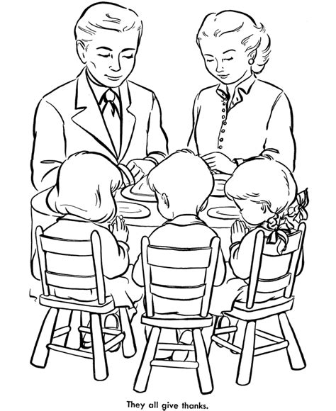 coloring pages family praying together thanksgiving dinner coloring page sheets family praying