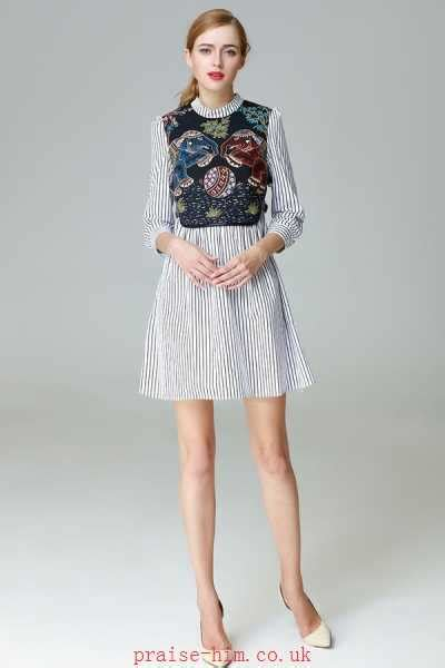 Color Block 3 4 Sleeve Dress color block 3 4 sleeve embroidery boutique dresses