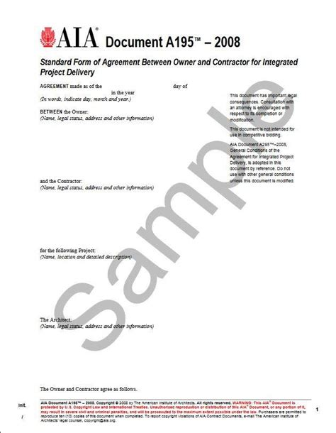 Letter Of Agreement Between Owner And Contractor a195 2008 standard form of agreement between owner and