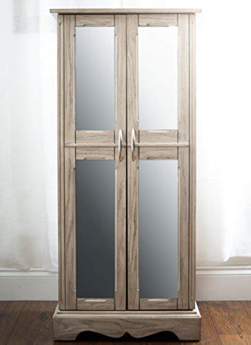 gray mirrored jewelry armoire gray distressed wood mirrored doors large wall standing