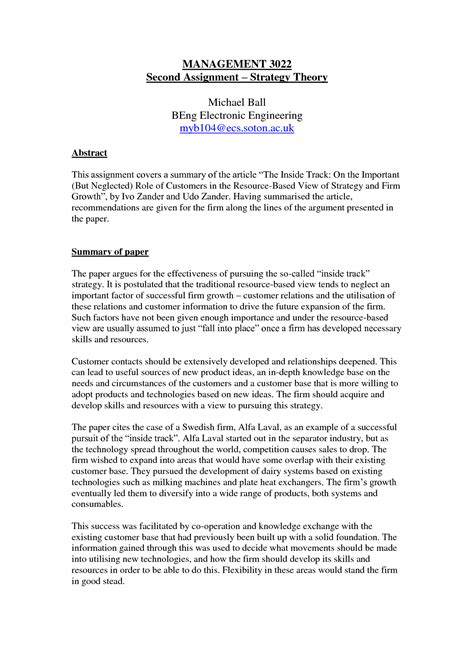 Summary Essay Template essay sle summary