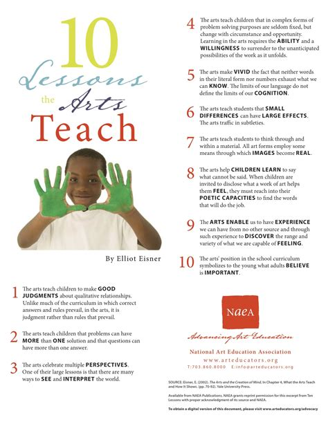 10 Valuable Lessons To Teach Your by Advocacy National Arts In Education Week P 2 10 Lessons