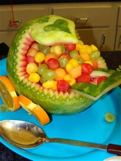 Baby Shower Watermelon Basket by Watermelon Baby Carriage Fruit Basket