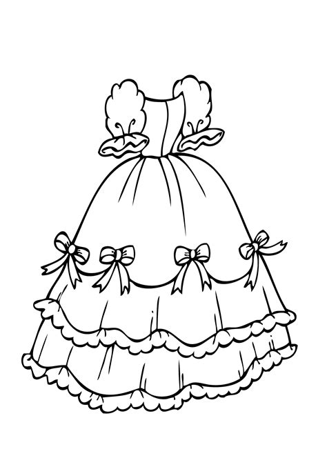 coloring pages princess dresses dress with bows coloring page for girls printable free