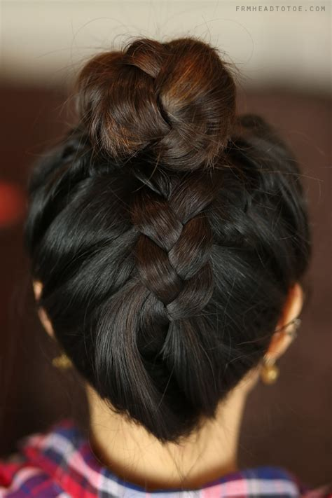 black french braid bun hair tutorial french braid sock bun from head to toe