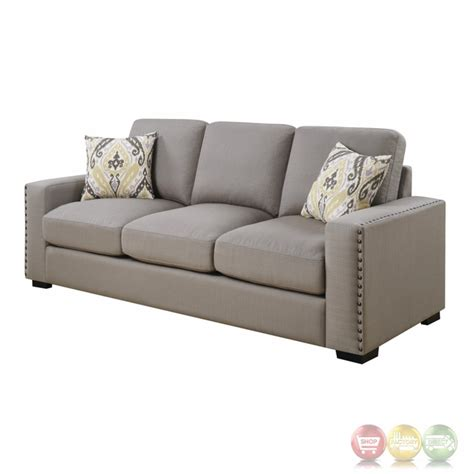 rosanna plush grey linen sofa with nailhead trim
