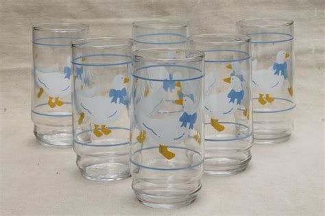 Glass Kitchen Canister blue ribbon bow country goose print drinking glasses 80s