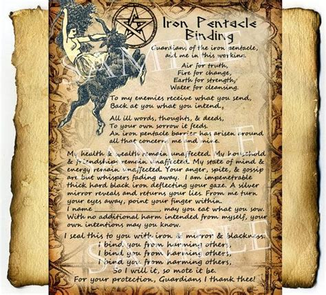 libro the occult witchcraft iron pentacle protection spell digital download graphic page book of shadows witchcraft