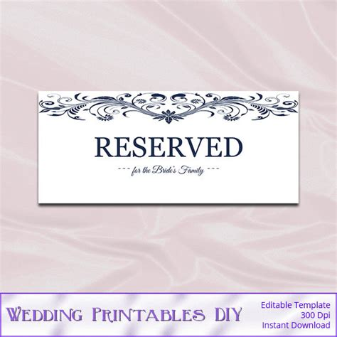 reserved seating signs template wedding reserved sign template white navy by