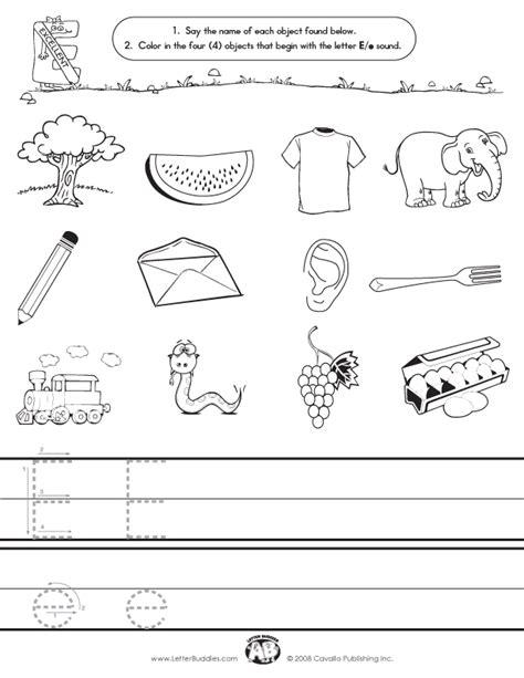 Letter E Worksheet by Initial Sounds Worksheet E