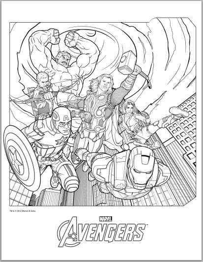 coloring page the avengers images