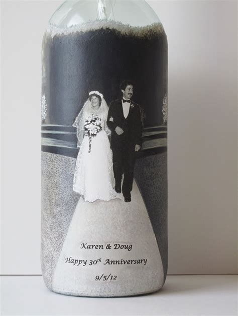 Custom Parent's Anniversary Gift, Hand Painted Wine Bottle