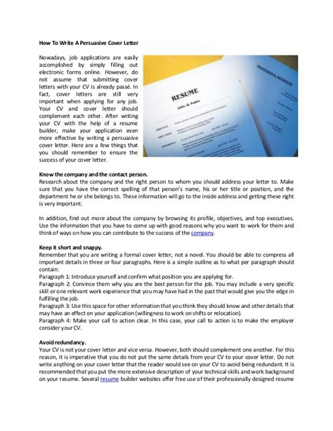 Convincing Cover Letter how to write a persuasive cover letter