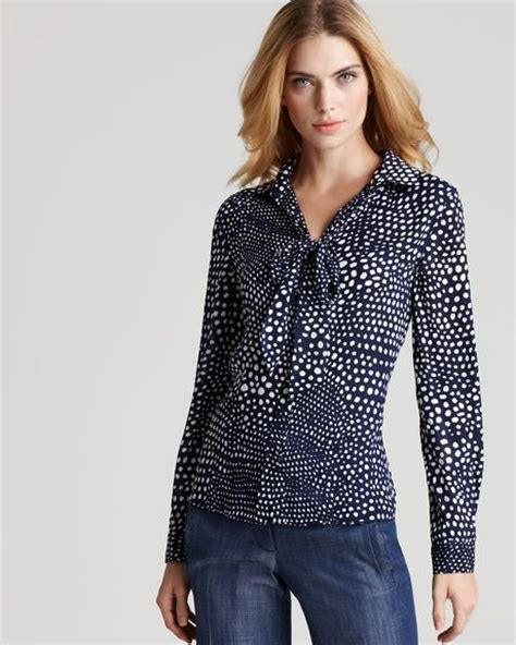 Polka Dot Blouse With Tie by Tibi Blouse Polka Dot Tie Neck In Blue Navy Lyst