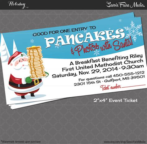 pancake breakfast ticket template pancake breakfast with santa event ticket photos