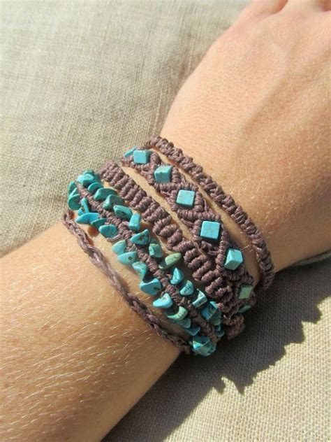 Hemp Design - turquoise and brown hemp macrame cuff bracelet
