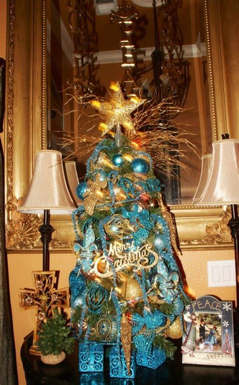 christmas at our place entry table christmas tree teal
