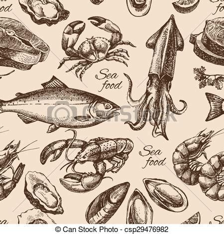 seamless pattern hand drawn seafood vector of hand drawn sketch seafood seamless pattern