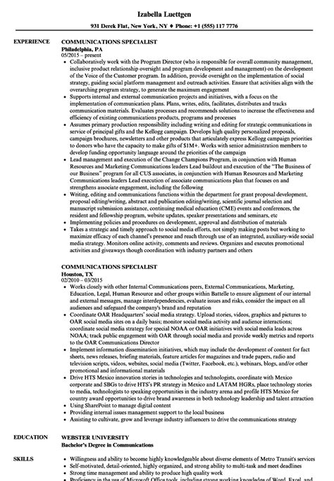 Communications Specialist Resume by Communications Specialist Resume Sles Velvet