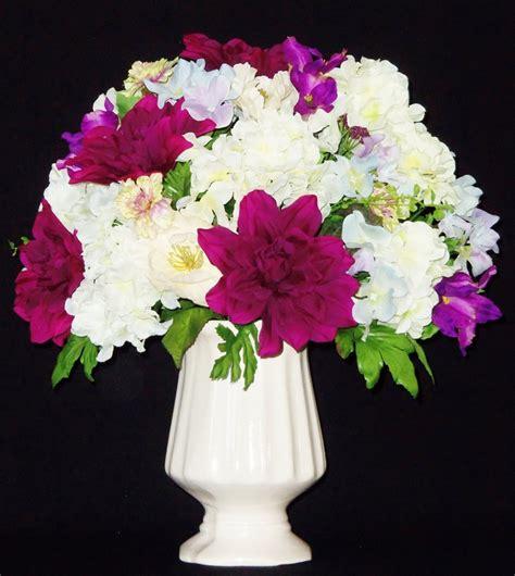 White Flower Arrangements In Vases by Silk Flower Arrangement Purple Dahlias White Hydrangea