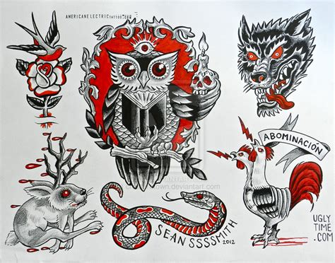 owl tattoo flash redand black flash 2 by creaturetown on deviantart