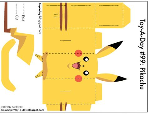 paper cards template diy printable paper box pocket pikachu val