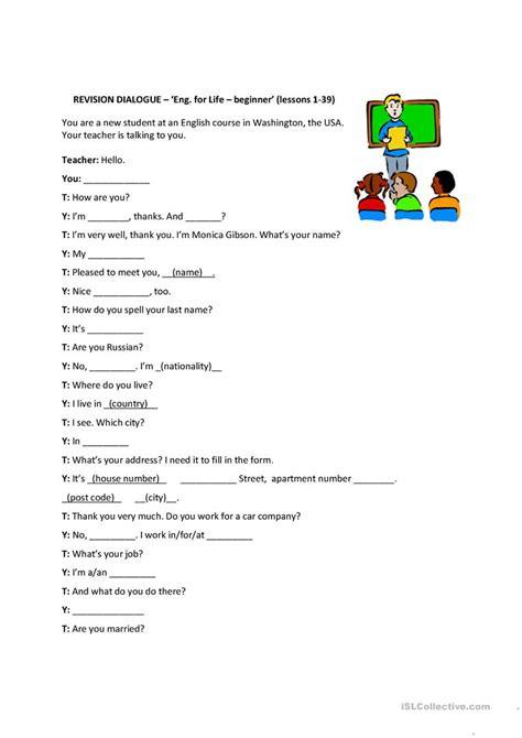 free printable esl beginner conversation worksheets