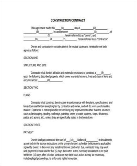 construction form sles 9 free documents in word pdf