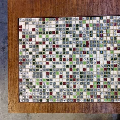 coffee table with tile inlay 60s teak coffee table with small tiles inlay barbmama