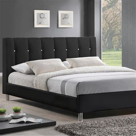upholstered bed full size baxton studio vino transitional black faux leather