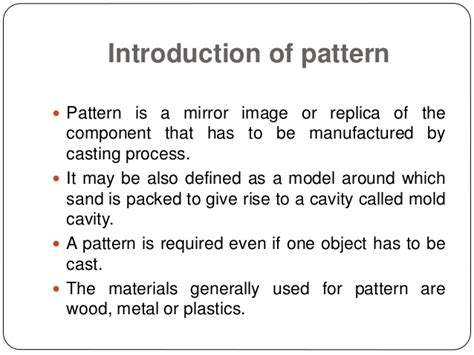 use of solid pattern in casting types of pattern and its application