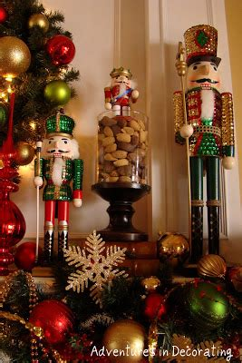 image of christmas mantle with nutcracker adventures in decorating nutcracker mantel