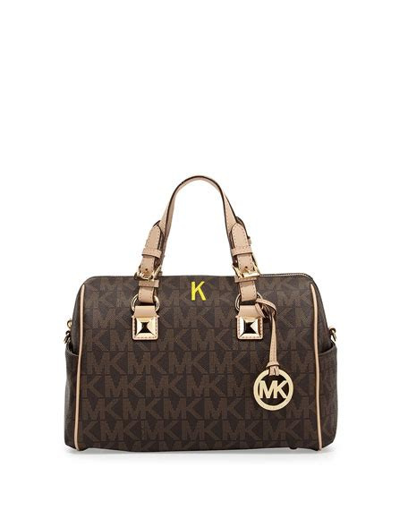 Grysons New Shoulder Bag Version Of The Beautiful Handbag by Michael Michael Kors Medium Grayson Logo Monogram Satchel