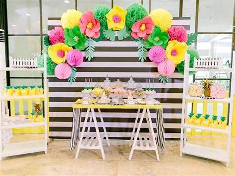 Pineapple Table Decorations Kara S Party Ideas Tropically Flamingo Themed Birthday