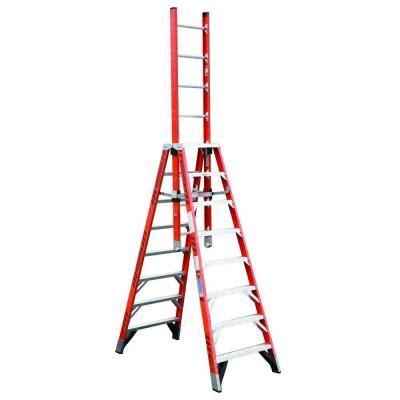 werner 8 ft fiberglass extension trestle step ladder with