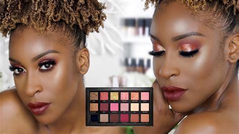 Huda Beauty Giveaway 2017 - huda beauty rose gold palette makeup tutorial by jackie aina beauty geek