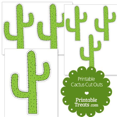 Printable Cactus Cut Outs Printable Treats Com Paper Cactus Template