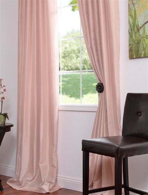 Blush Pink Curtains Blush Faux Dupioni Silk Curtain Drape Ebay