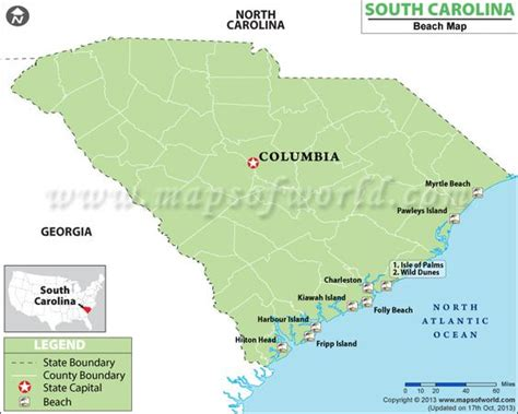map of coast of carolina south carolina beaches maps carolina