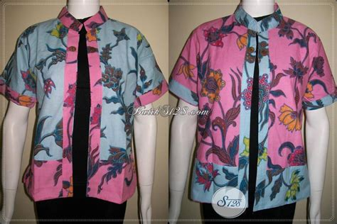 Batik Bolero Motif Bunga Hokokai Murah bolero batik bolak balik warna pink dan biru motif bunga