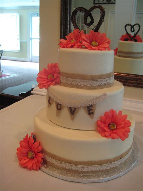 3 tier round wedding cake with burlap and lace trimming