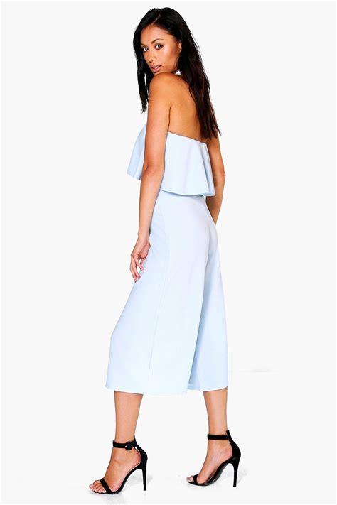 Ria Jumsuit boohoo womens ria peplum bandeau cut out culotte jumpsuit