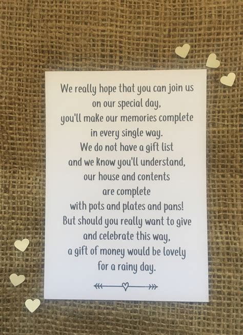wedding invitations asking for gifts wedding money poem polite way of asking for rath and