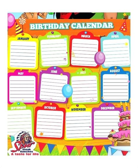 birthday chart template for classroom birthday charts templates classroom chart printable free
