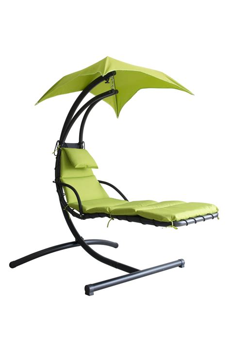 Hanging chaise lounge chair hammock swing canopy glider outdoor patio furniture ebay