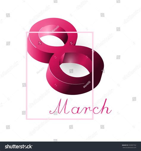 3d s day card template 3d 8 march womens day greeting stock vector 559987702