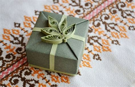 Origami Gifts For Him - origami gift box with quilling ornament gift for him