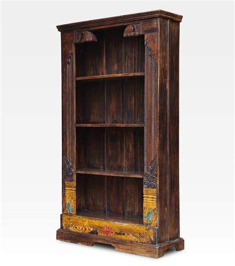 libreria antica libreria indiana dipinta e intagliata legno di teak
