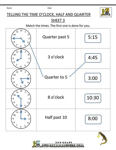 clock problems for 2nd grade clock half and quarter