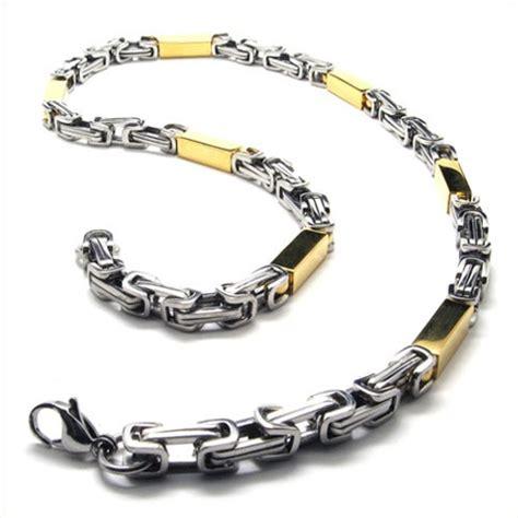 21 7 inch titanium golden cuboid necklace 18837 163 156 titanium jewellery uk